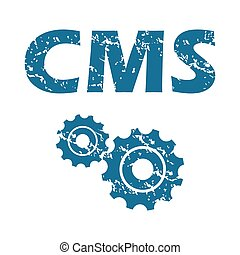 CMS grunge icon - Grunge blue icon with text CMS and two...