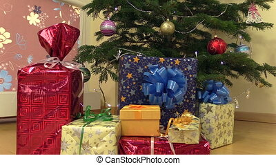 gift box christmas tree - Colorful gift present boxes with...
