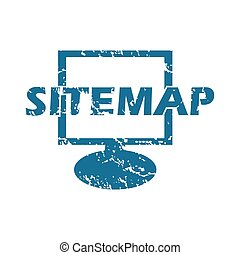 Grunge sitemap icon - Grunge blue icon with image of monitor...