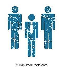 Grunge workteam icon - Grunge blue icon with three man...