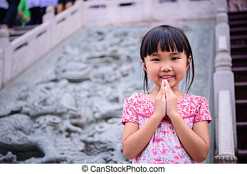 Asian kid blessing - Asian kid beg and blessing with blur...