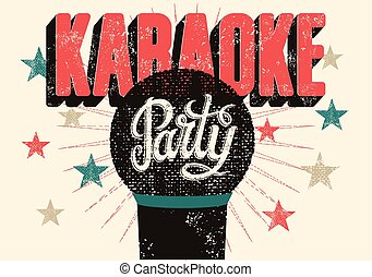 Karaoke party poster. - Typographic retro grunge karaoke...