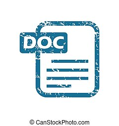 Grunge doc file icon - Grunge blue icon with image of doc...
