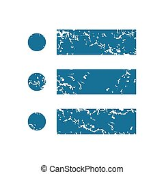 Grunge dotted list icon - Grunge blue icon with image of...