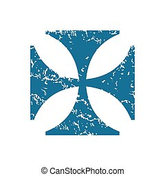 Grunge maltese cross icon - Grunge blue icon with image of...