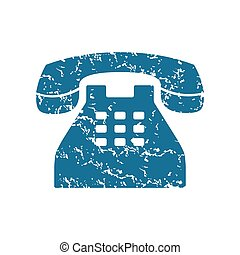 Grunge old phone icon - Grunge blue icon with image of old...