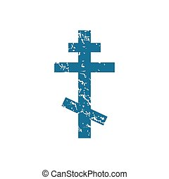 Grunge orthodox cross icon - Grunge blue icon with image of...