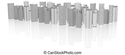 Sketch of 3d cityscape