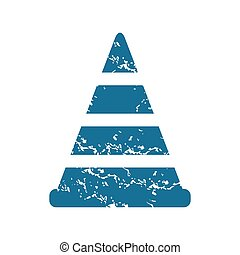 Grunge traffic cone icon - Grunge blue icon with image of...