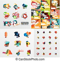 Mega collection of paper graphic banners, labels,...