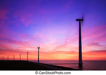 Purple sunset wind turbines - Beautiful sunset at the dike...