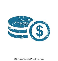 Grunge dollar rouleau icon - Grunge blue icon with image of...