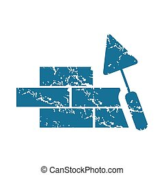 Grunge building wall icon - Grunge blue icon with image of...