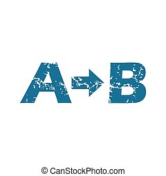 Grunge A to B icon - Grunge blue icon with letters A and B...