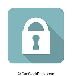 Square closed padlock icon - Square icon with image of...