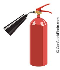 Fire extinguisher - The fire extinguisher on a white...