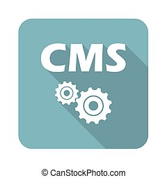 Square CMS icon - Square icon with text CMS and two gears,...