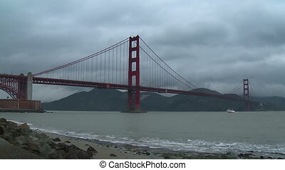 Golden Gate Bridge Time-lapse - Time-lapse view on a cloudy...