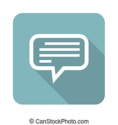 Square text message icon - Square icon with chat bubble with...