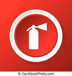 Fire extinguisher icon on red - Round white icon with image...