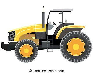 Tractor - Yellow tractor a side view on white background