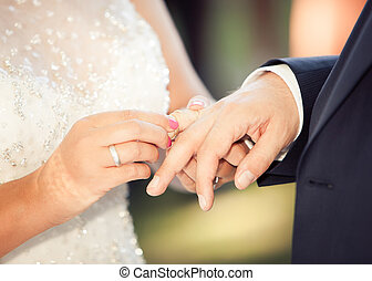 Wedding - Bride and groom with wedding rings