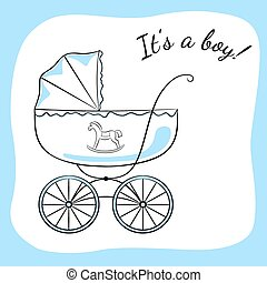 Boy arrival announcement 2 - Retro baby carriage Sketch-like...