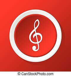 Treble clef icon on red