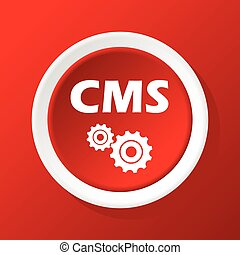 CMS icon on red - Round white icon with text CMS and gears,...