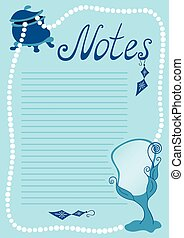 Lined paper background - Lined page with beauty objects and...