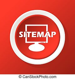 Sitemap icon on red - Round white icon with text SITEMAP in...