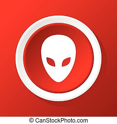 Alien icon on red