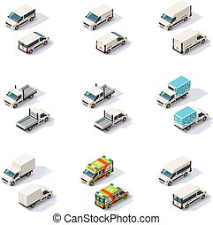 Vector isometric vans set - Set of the different types of...
