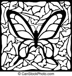 Abstract butterfly in black and white