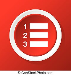 Numbered list icon on red - Round white icon with image of...