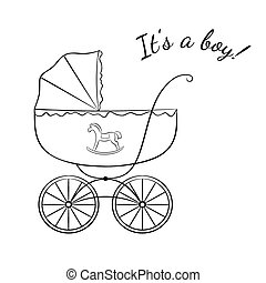 Boy arrival announcement - Sketch-like image of a retro baby...