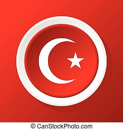 Crescent star icon on red - Round white icon with image of...