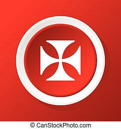 Maltese cross icon on red - Round white icon with image of...