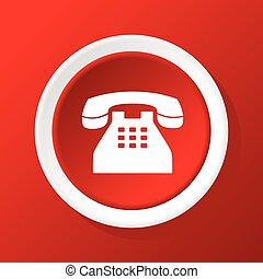 Old phone icon on red - Round white icon with image of old...