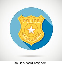 Police officer badge icon Law and order concept Flat design...