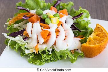 salad with vegetables on white plate