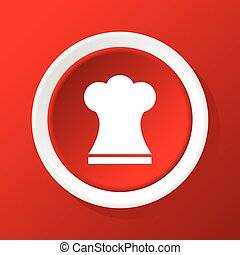Chef hat icon on red