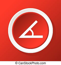 Angle icon on red - Round white icon with image of angle, on...