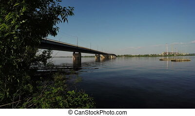 Bridge over Dnipro - Panorama South bridge across Dnieper...