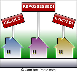 Property Plight - Illustration of three gradient colored...