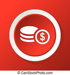 Dollar rouleau icon on red - Round white icon with image of...