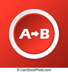 Formula icon on red - Round white icon with letters A and B...