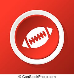 Rugby ball icon on red - Round white icon with image of...