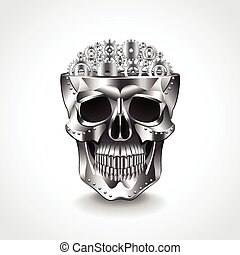 Metal skull, brain from gears vector illustration - Metal...