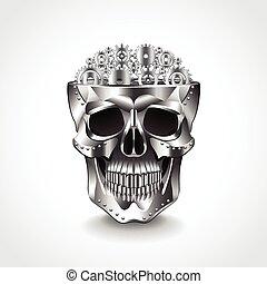 Metal skull, brain from gears vector illustration - Metal...